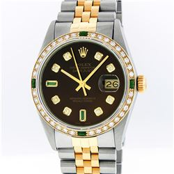 Rolex Mens Two Tone 14KT Yellow Gold Emerald and Diamond Datejust Wristwatch