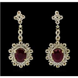 14KT Yellow Gold 8.70ctw Ruby and Diamond Earrings