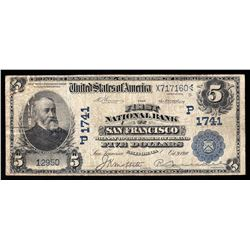 1910 $5 First National Bank of San Francisco Currency Note - Hole