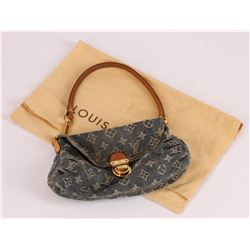 Authentic Louis Vuitton Denim Pleaty Pouchette Handbag Purse