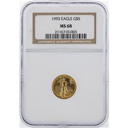 1993 $5 American Gold Eagle Coin NGC MS68
