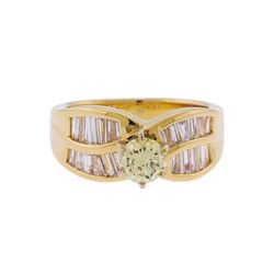 14KT Yellow Gold 1.50ctw Fancy Light Yellow and White Diamond Engagement Ring