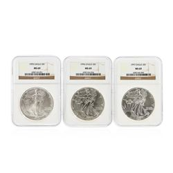 1995-1997 $1 American Silver Eagle Coin Set NGC MS69