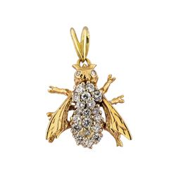 14KT White and Yellow Gold 1.00ctw Diamond Bee Pendant