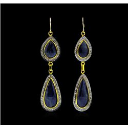 SILVER 26.84ctw Sapphire and Diamond Earrings