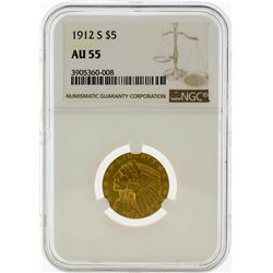1912 $5 Indian Head Half Eagle Gold Coin NGC AU55