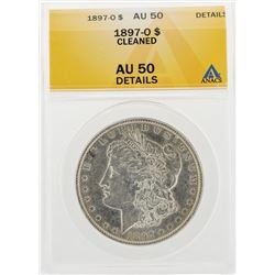 1897-O $1 Morgan Silver Dollar Coin Cleaned ANACS AU50 Details