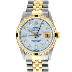 Rolex Mens Two-Tone 14KT Yellow Gold Sapphire and Diamond Datejust Wristwatch