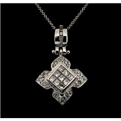 14KT White Gold 1.00ctw Diamond Pendant with Chain