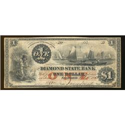 1866 $1 Diamond State Bank Seaford Delaware Obsolete Note