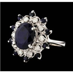14KT White Gold 6.61ctw Sapphire and Diamond Ring
