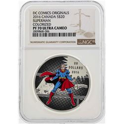 2016 Canada $20 Superman Colorized Silver Coin NGC PF70 Ultra Cameo
