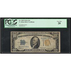 1934A $10 North Africa WWII Emergency Silver Certificate Note PCGS VF20