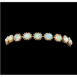 14KT Rose Gold 8.41ctw Opal and Diamond Bracelet