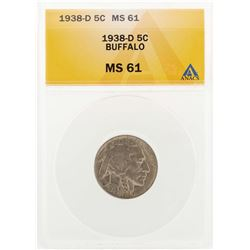 1938-D Buffalo Nickel Coin ANACS MS61