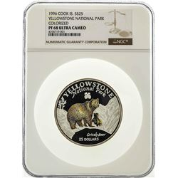 1996 $25 Cook Island Yellowstone National Park Colorized Coin NGC PF68 Ultra Cam