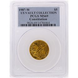 1987-W $5 US Vault Collection Constitution Gold Coin PCGS MS69