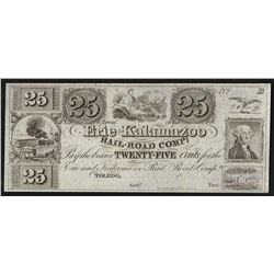 1800s Twenty-Five Cents Erie & Kalamazoo Rail Road Company Obsolete Note