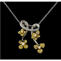 14-18KT Two Tone Gold 0.68ctw Diamond Pendant with Chain