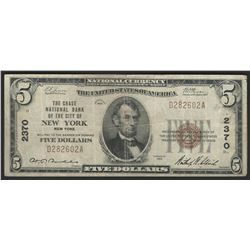 1929 $5 National Bank Note of New York New York Charter #2370
