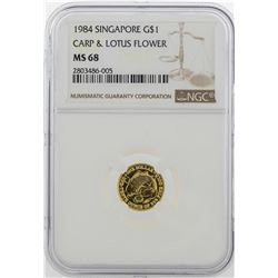 1984 $1 Singapore Carp & Lotus Flower Gold Coin NGC MS68