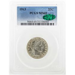 1913 Barber Quarter Dollar Coin PCGS MS65 CAC