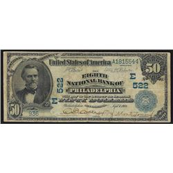 1902 $50 The Eighth National Bank of Philadelphia Bank Note