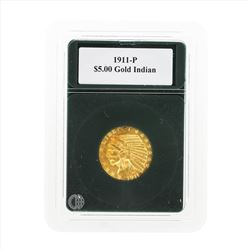 1911-P $5 Indian Head Half Eagle Gold Coin