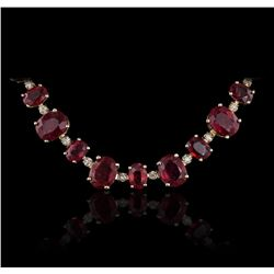 14KT Yellow Gold 44.89ctw Ruby and Diamond Necklace
