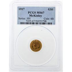 1917 $1 Gold Dollar McKinley Coin PCGS MS67