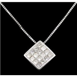 18KT White Gold 0.90ctw Diamond Pendant with Chain