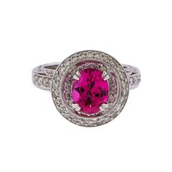 18KT White Gold 2.00ct Pink Topaz and Diamond Ring
