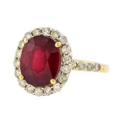 14KT Yellow Gold 5.78ct Ruby and Diamond Ring