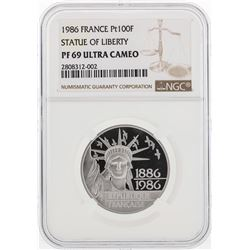 1986 France 100 Francs Platinum Statue of Liberty Coin NGC PF69 Ultra Cameo
