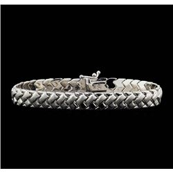 14KT White Gold High Polish and Satin Finish Woven Bracelet