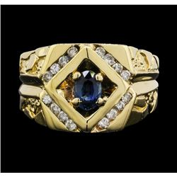 14KT Yellow Gold Mens 0.70ct Sapphire and Diamond Ring