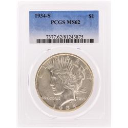1934-S $1 Peace Silver Dollar Coin PCGS MS62