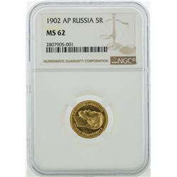 1902-AP Russia 5 Roubles Gold Coin NGC MS62