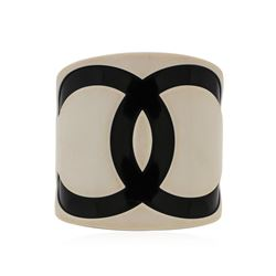 Authentic Chanel Black and White Logo Resin Cuff Bracelet