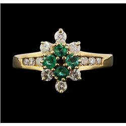 14KT Yellow Gold 0.30ctw Emerald and Diamond Ring