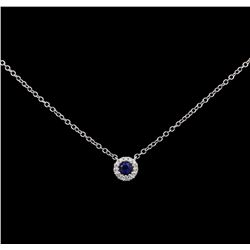 14KT White Gold 0.10ct Sapphire and Diamond Pendant with Chain