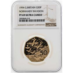 1994 Great Britain 50 Pence Gold Coin NGC PF69 Ultra Cameo