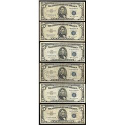 Lot of (6) 1953B $5 Silver Certificate Notes