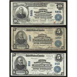 Lot of (3) Large Size Pennsylvania National Bank Notes