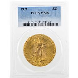 1926 $20 St. Gaudens Double Eagle Gold Coin PCGS MS65