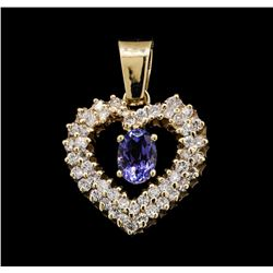 14KT Yellow Gold 0.86ct Tanzanite and Diamond Pendant