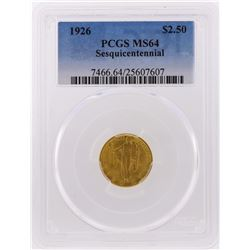1926 $2 1/2 Sesquicentennial Gold Commemorative Coin PCGS Graded MS64