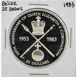 1983 $25 Belize 30th Anniversary Silver Coin