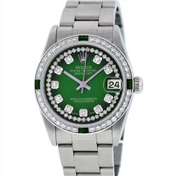 Rolex Midsize Stainless Steel Emerald and Diamond DateJust Wristwatch