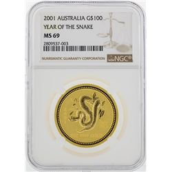 2001 Australia $100 Year of the Snake Gold Coin NGC MS69